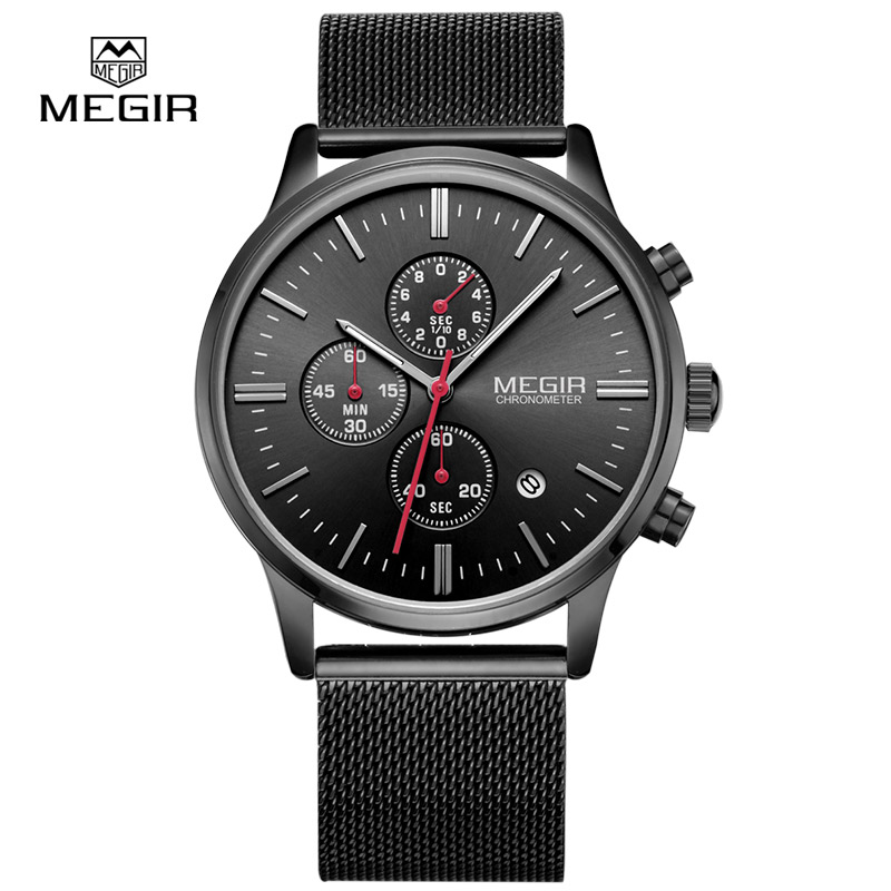 MEGIR relogio masculino men's quartz watches fashion waterproof mesh band watch for man luminous hour for male dress watch 2011