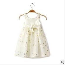 Free ship[ping 2015 Summer girls dress children dress white silk pleated straps baby girls dress(China (Mainland))