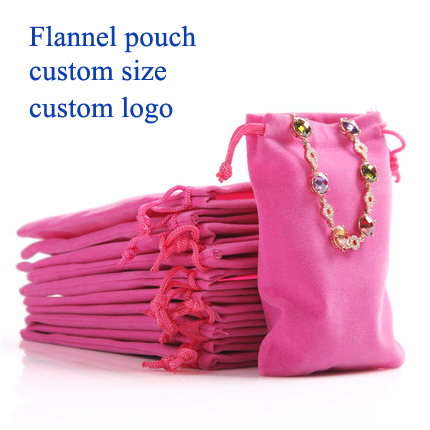 (50 pcs/lot)Flannel drawstring bag Pouch Electronics Packaging Christmas/Wedding Gift Bag custom jewelry pouch custom logo8x10cm(China (Mainland))
