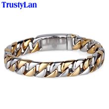Buy TrustyLan Never Fade Gold Color Bracelet Men 22CM Length Link Chain Armband Mens Bracelets & Bangles 2017 Man Wristband Gift for $12.26 in AliExpress store