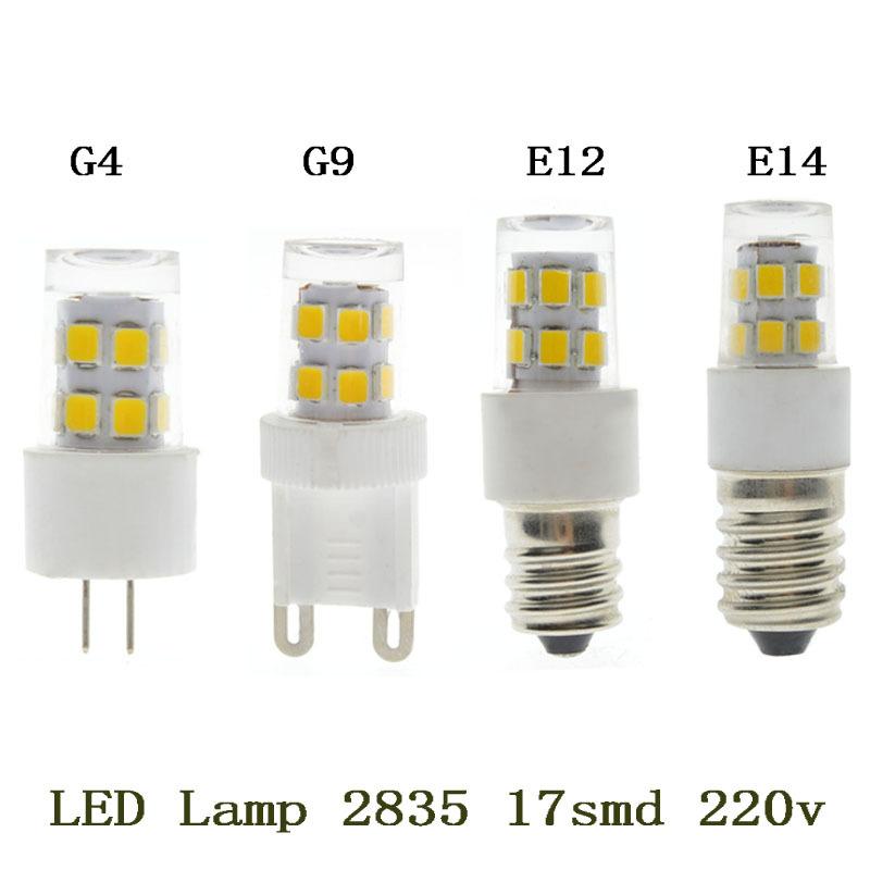 Лампада светодиодные G9 с Г4 Е12 Е14 светодиодная Лампа 220В 5Вт 17SMD 2835SMD светодиодные Лампа 360 угол луча света пятна СИД гарантия