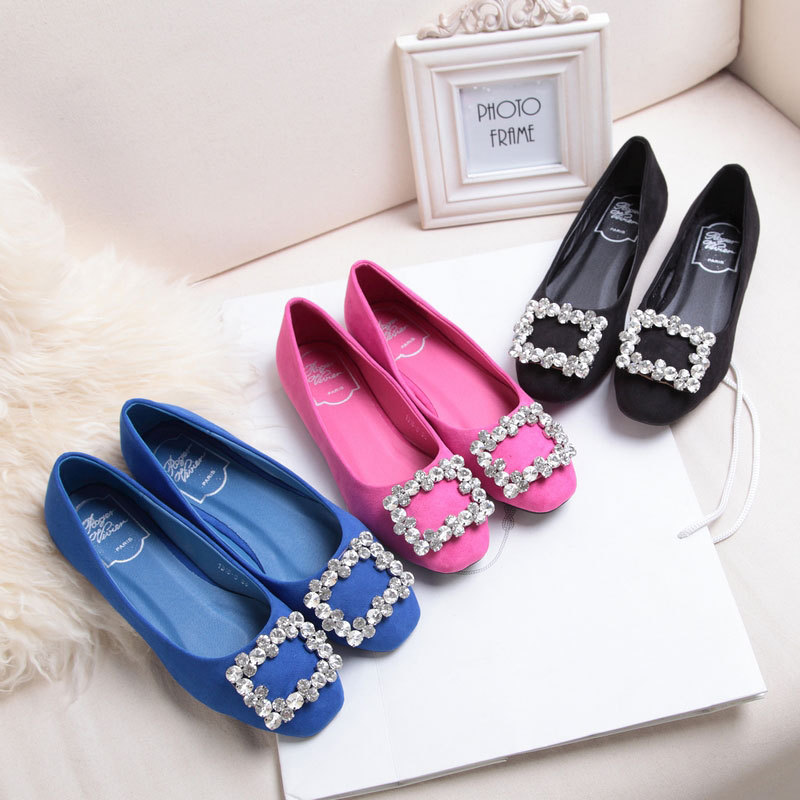 Europe and the United States 2015 new spring buckle shoes round diamond shoes with flat shoes