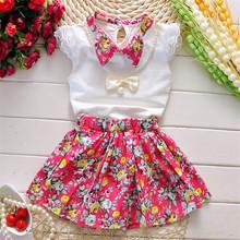 2016 Princess Girl Dress Summer Dress children clothing baby Kids Top+Skirt fantasia infantis vestido Menina baby floral dress(China (Mainland))