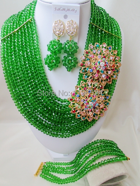 Luxury Green Crystal Necklaces Bracelet Earrings African Nigerian Wedding Beads Jewelry Set  A-7949<br><br>Aliexpress