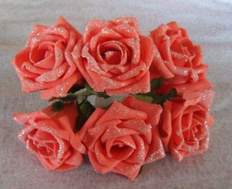 6CM,artificial floral foam eva glitter roses,diy craft arrangement flower ball&decoration party&bridal bouquet&bouquets of toys(China (Mainland))