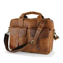 Wholesale Fashion Vintage Crazy horse Leather handbags Men Messenger Bags genuine leather shoulder bags laptop Briefcase LI-895(China (Mainland))