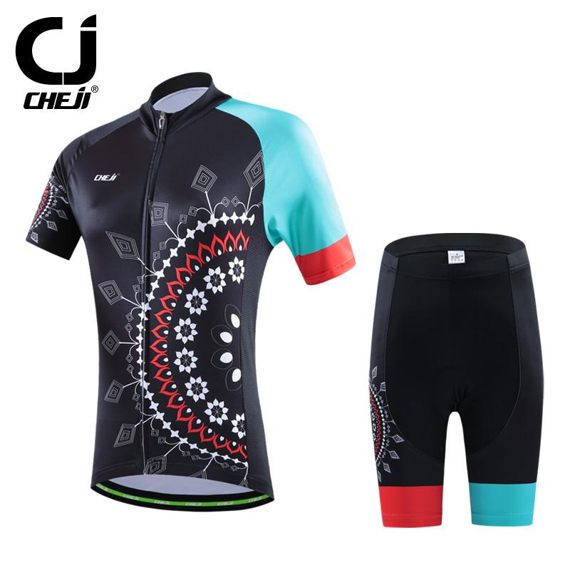 2016 CHEJI Women Bike Jerseys Shorts Sets Pro Cycling clothing Suits black and green Team bicycle Shirts mtb Top bottom