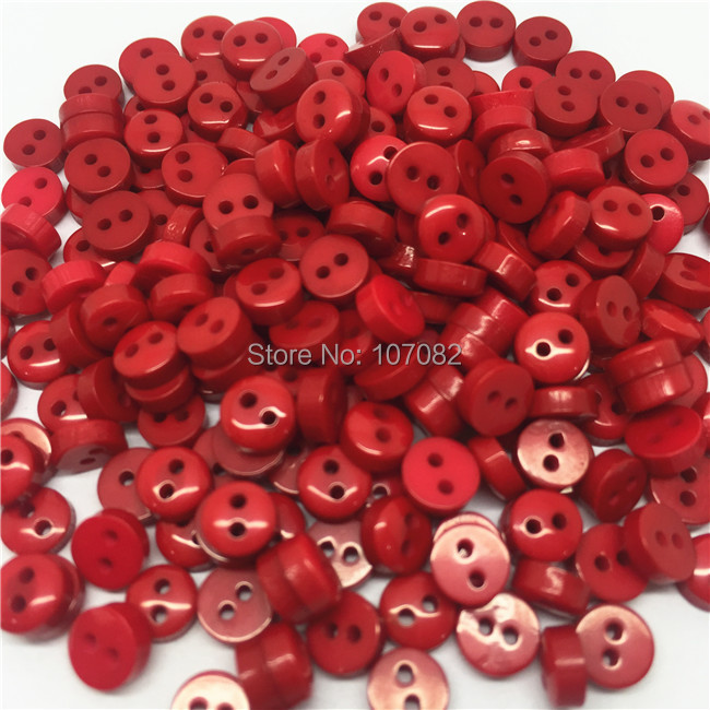 Free Shipping!1000Pcs/lot 6mm Mini Tiny Resin Buttons In Red Round Sewing Button For Scrapbooking Embellishments