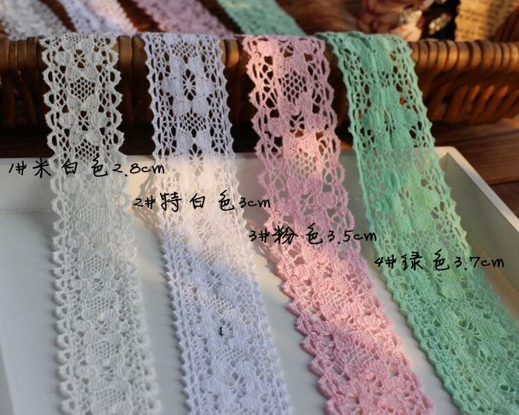 2 Meters Off White Pink Green DIY Clothing Bedding Accessories Lace Cotton Lace Ribbon Hat Decoration Lace Trim Manufacturer(China (Mainland))