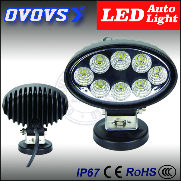 OVOVS free shipping hot sale car accessories oval 12v 24w led truck light for offroad 4x4 truck(China (Mainland))