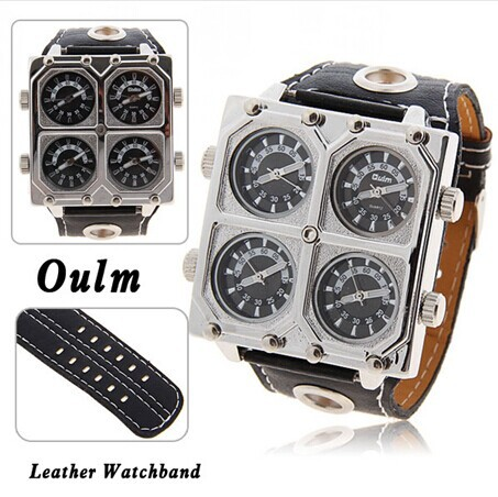 New 2014 Mens Sports Watch Oulm Quartz Watches four Time Zone Casual watch Analog Wristwatches<br><br>Aliexpress