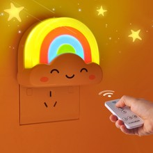 Buy Cute night light LED light controlled warm Mini rainbow night light clouds smile children bedroom plug Nightlight for $8.17 in AliExpress store