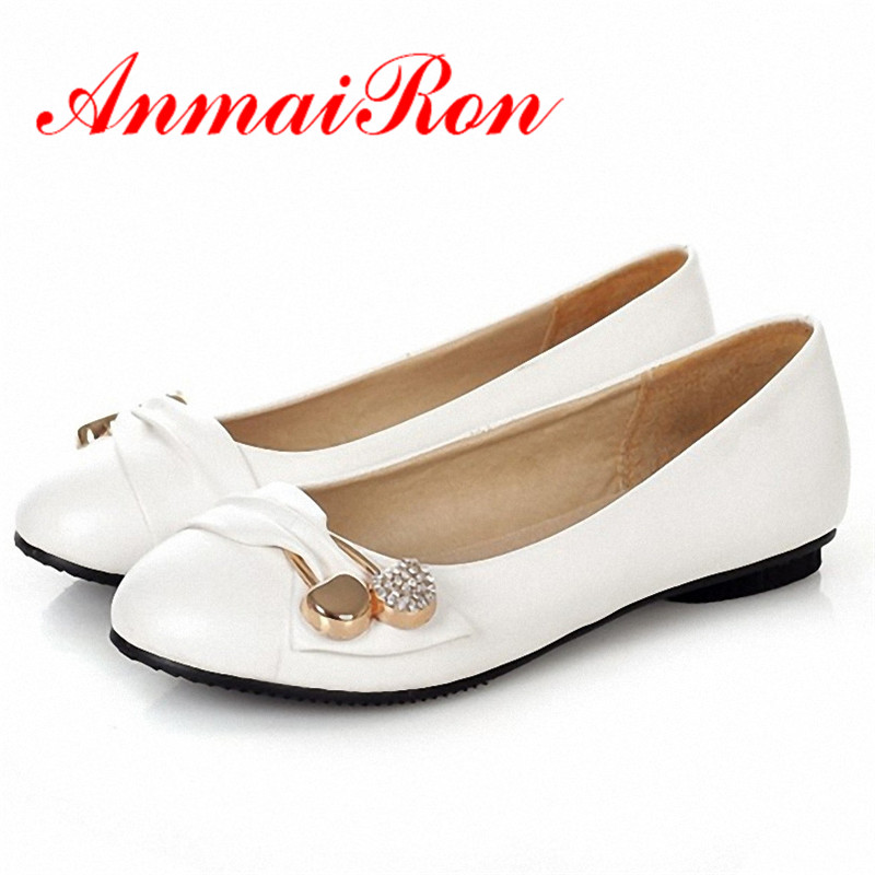 ANMAIRON Fashion Flats Women Shoes Large Size 34 47 Female Ballet Shoes Closed Toe Spring and