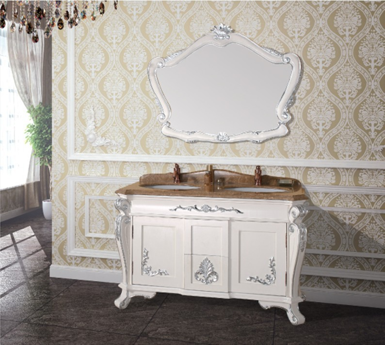 hot sales antique bathroom cabinet with mirror and sink
