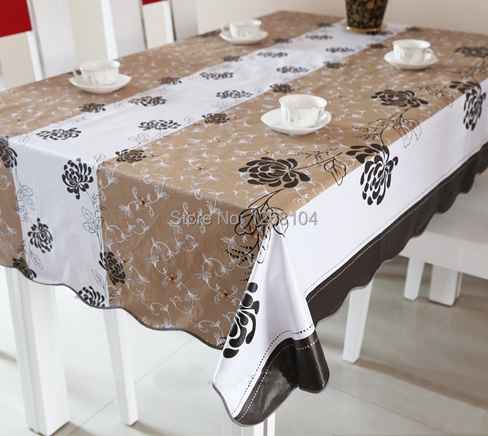 High Quality 137*183cm PVC Table Cloth Plastic Waterproof Oilproof Table Cover Overlays Coffe Floral Printed 8 Patterns(China (Mainland))