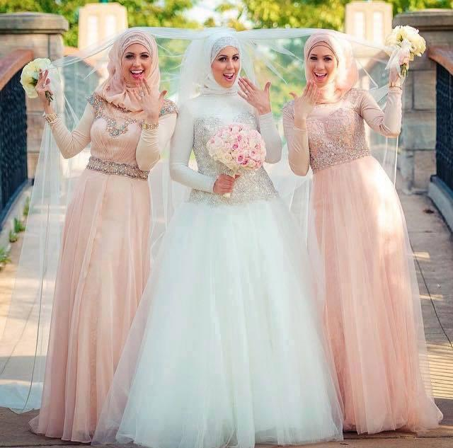 Muslim Wedding Bridesmaid Dresses : Muslim hijab wedding dresses with long sleeve a line dubai