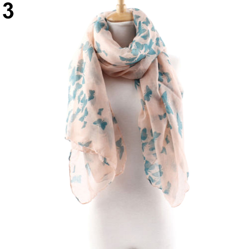 2015 Splendid Women's Chic Butterfly Print Long Neck Voile Shawl Pashmina Stole Scarf Retail/Wholesale(China (Mainland))