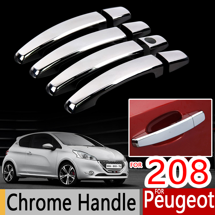 For Peugeot 208 Chrome Handle Covers Trim Set 2012-2016 Active Allure GTI Car Accessories Stickers Car Styling 2013 2014 2015(China (Mainland))