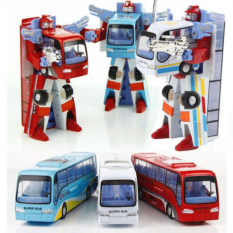 New children's toys bus vehicles can be to robot alloy car bus man gifts kids toys(China (Mainland))