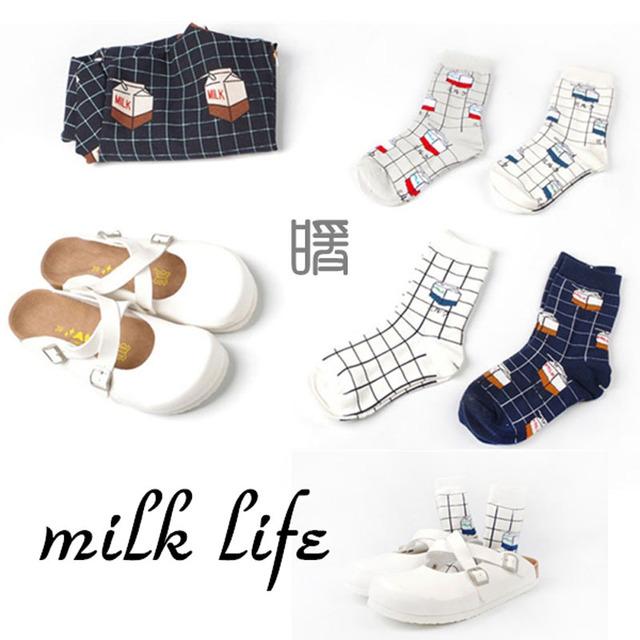 Женщин каваи молоко коробка длинные носки 2015 новых корейских женщин творческий мультфильм трубка носок симпатичные зима осень носки