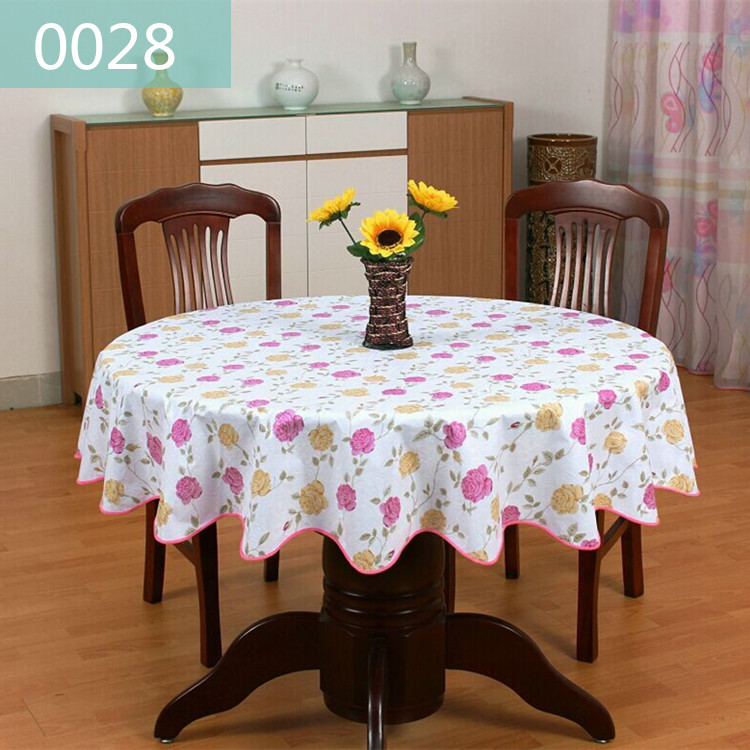 Table skirt PVC round protection against oil disposable water hot environmental thickening plastic table cloth round table(China (Mainland))