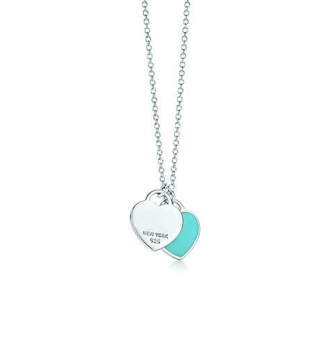 The Most Celebrated Designer Double Heart Tag Pendant Necklace,925 Sterling Silver and Emerald Enamel Finish Metal,A Joyful Gift(China (Mainland))