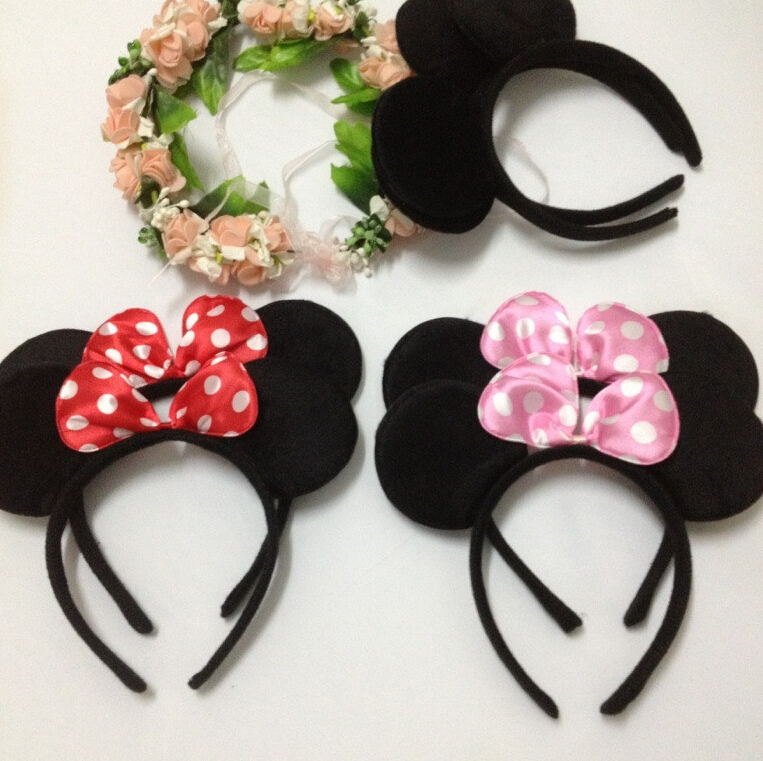1PC Minnie ears headbands Hair Sticks Headwear Hair Bands Minnie Mouse Head band accessories Women Girls Baby Birthday Party(China (Mainland))