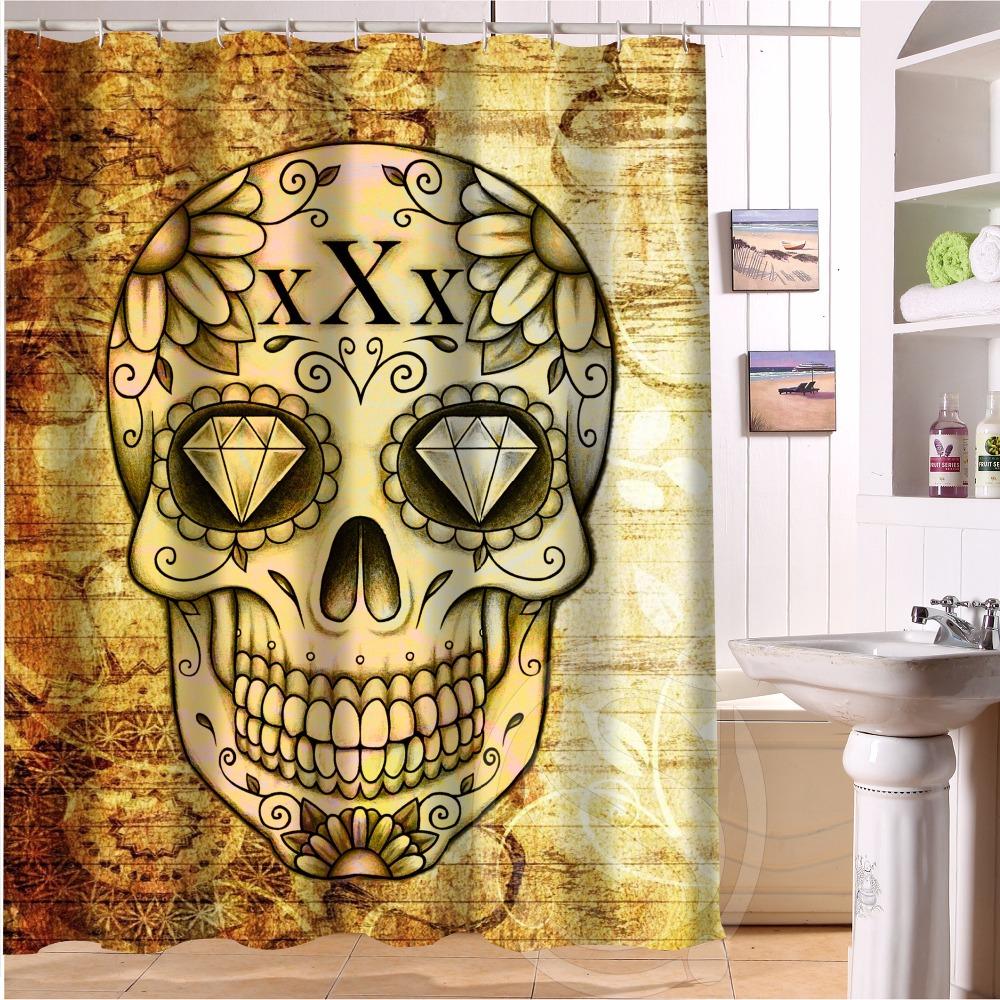 Skull Bathroom Decor Girly Skull Shower Curtain