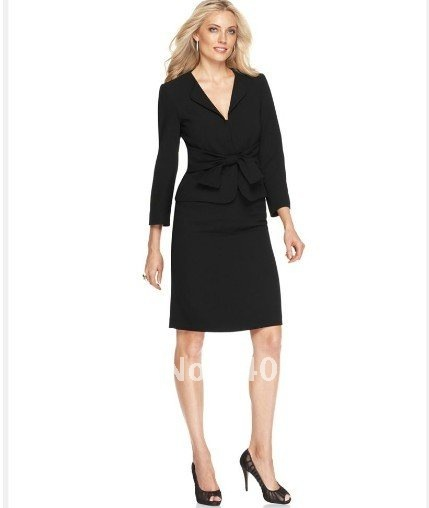 Ladies Suit  Brand Suit  Three Quarter Sleeve Tie Front Jacket & Pencil Skirt  Accetp Custom Women Suit  687