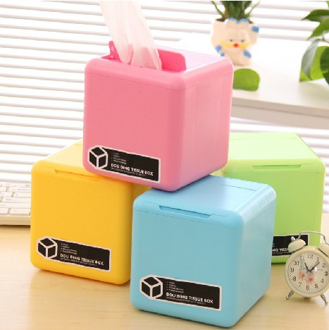 Candy Color Multi-Function Creative Tissue Box Make Up Cotton Pads Cotton Swab Receive Case Paper Storage Box F1490(China (Mainland))