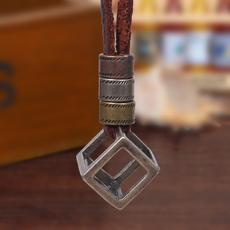 summer style necklaces pendants fine jewelry Cool Punk jewelry Cube Design Pendant Genuine Leather Necklace