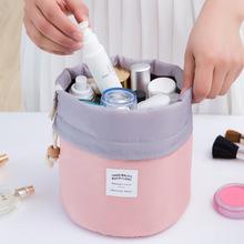 2017 Real New Arrival Barrel Shaped Travel Cosmetic Bag Nylon High Capacity Drawstring Drum Wash Bags Makeup Organizer Storage(China (Mainland))