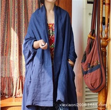 In the winter of 2015, the original design brand quality loose big yards of cotton linen women's trench coat  0916