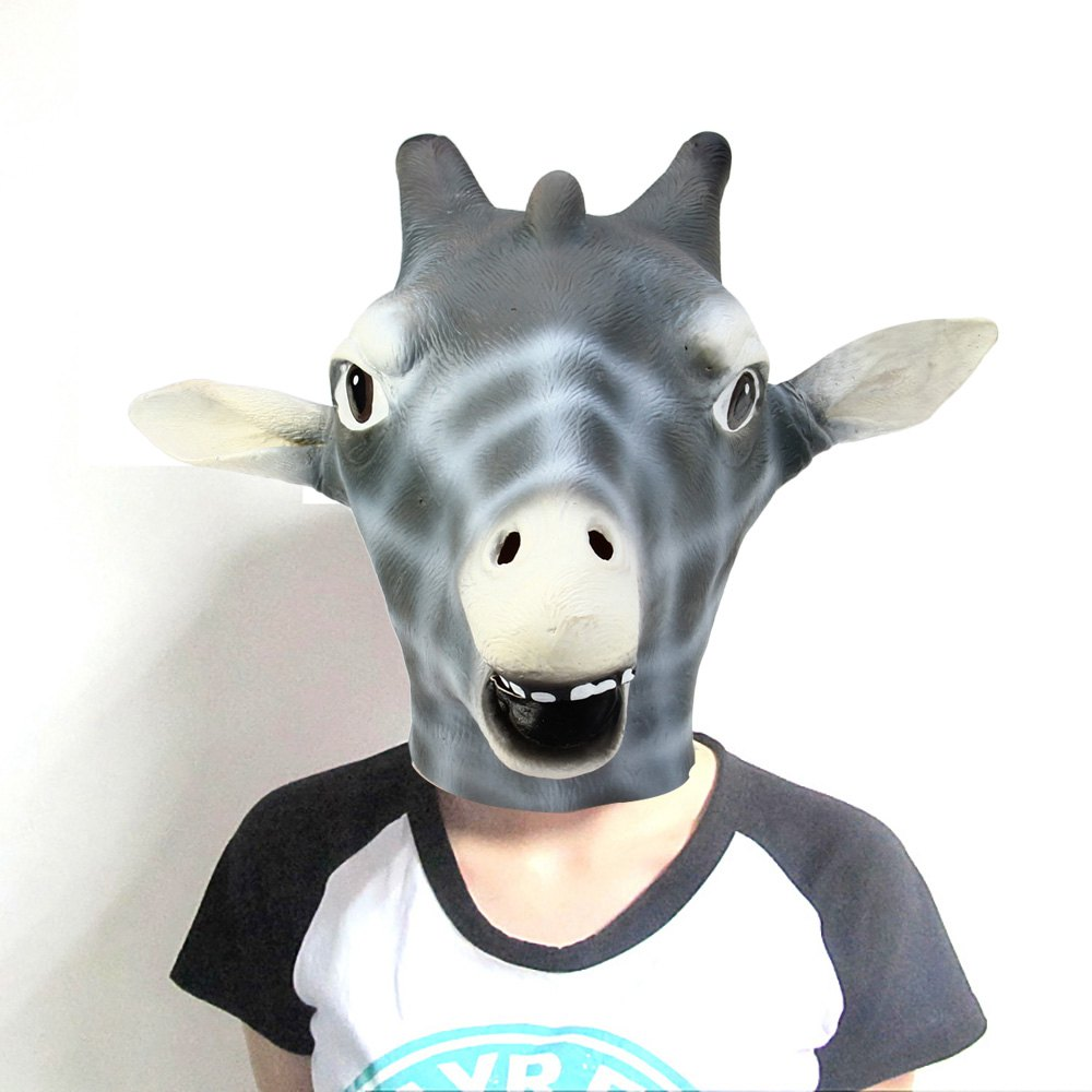 2016 Latest Punk Silicone Mask Giraffe Head Mask Fashional Black White Full Face Adults Mask For Halloween Masquerade Parties(China (Mainland))