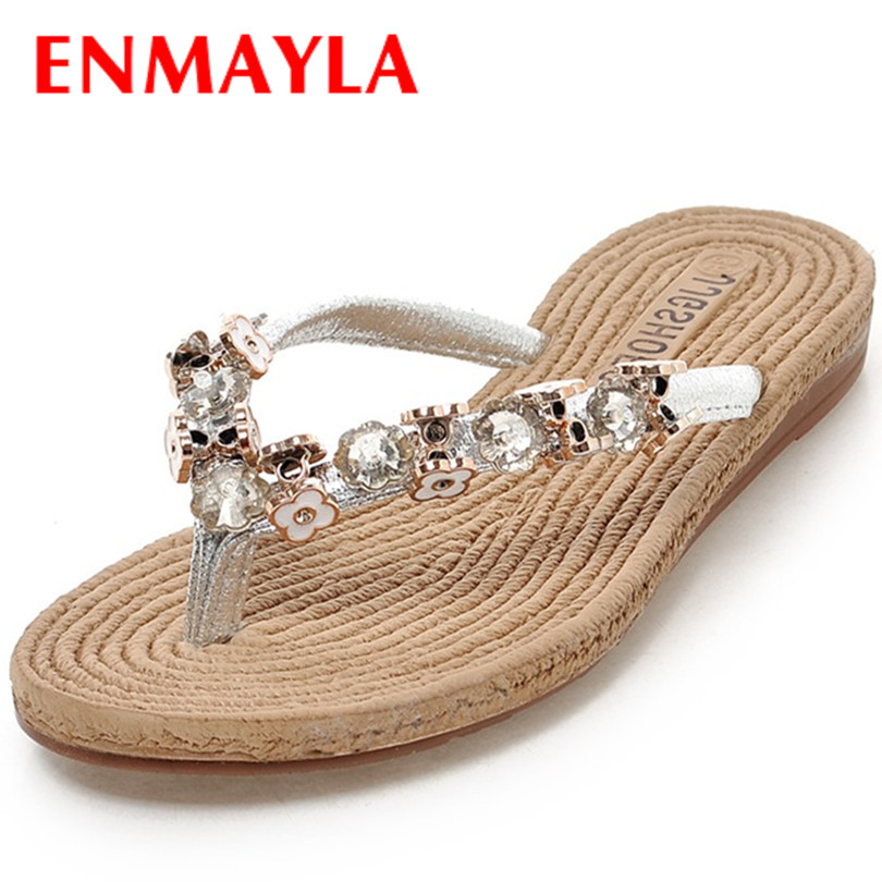 ENMAYLA New Casual Round Toe Flats Sandals Slippers Black Sliver and Gold Shoes Size 35-39 Womens Summer Fashion Flats Shoes<br><br>Aliexpress