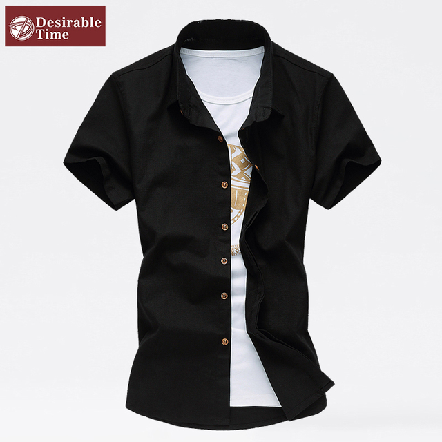 Мужчины белый черный льняная рубашка с коротким рукавом мода 2016 летний стиль марка ...