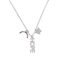 Collier pendentif à breloques belle couleur argent or pavé cz foi espoir patron mignon étoile lune charmant colliers pour les femmes(China)