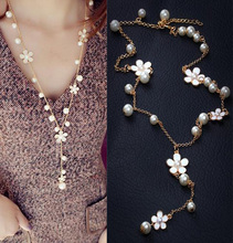 New Arrival Nice Korea Fashion Necklace Women's Jewelry Wasteful White Flowers Pearl Chains Charming Necklaces(China (Mainland))