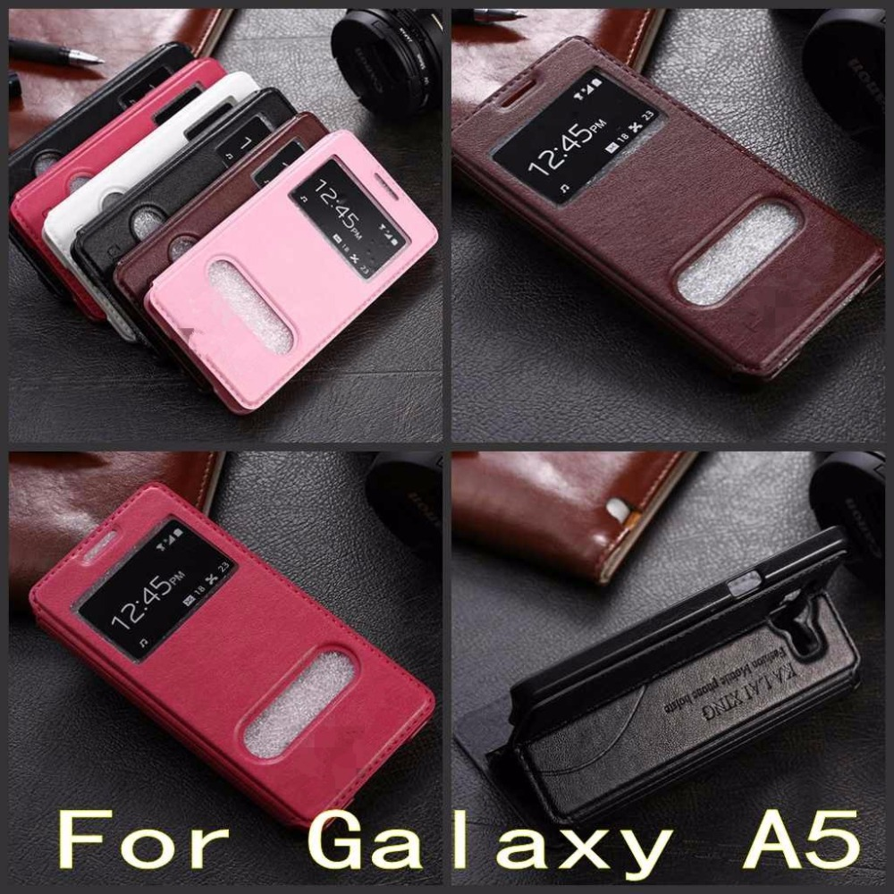 Galaxy A5 Case Luxury View Window Leather Flip Cover Samsung A500 A5000 A500F Stand Function  -  SuperTouch store