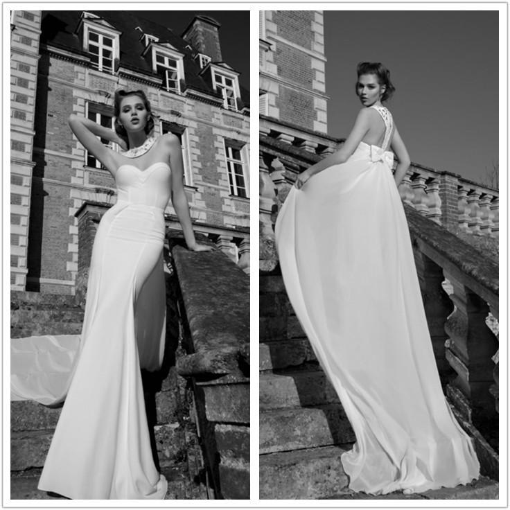 Mermaid wedding dresses 2016 Vestido De Noiva Sereia sexy high neck sleeveless Bow Chiffon Bride Dress robe de mariage HS850(China (Mainland))