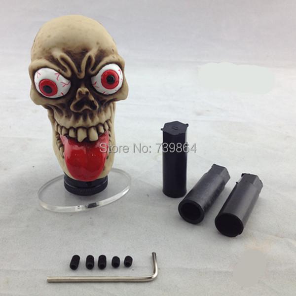 Free Shipping Red Long Tongue Ghost Universal Car Manual Gear Stick Shift Shifter Lever Knob(China (Mainland))