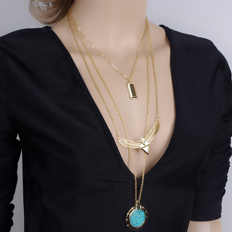 multi layer necklace fashion accessories gold Wing Key Round Pendant Trend maxi female long chain necklaces & pendants for women(China (Mainland))