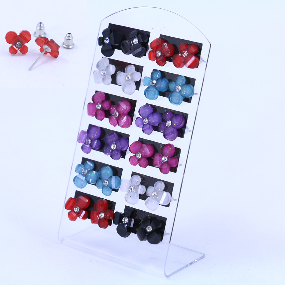 free shipping cheap mini small earrings 12pairs packing set acrylic crystal flower star. Black Bedroom Furniture Sets. Home Design Ideas