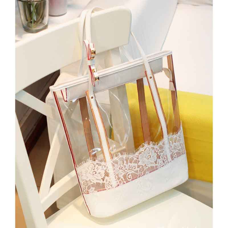 new Bag in Bag Womens Sweet Jelly Clear Lace Transparent Handbag Hobo Tote Shoulder Bags 4 colors for choose(China (Mainland))
