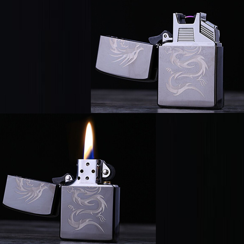 2 IN 1 Oil Clipper Lighter USB Lighters For Cigarettes USB Rechargeable Electrical Arc Flameless Smoke Electronic Gadgets