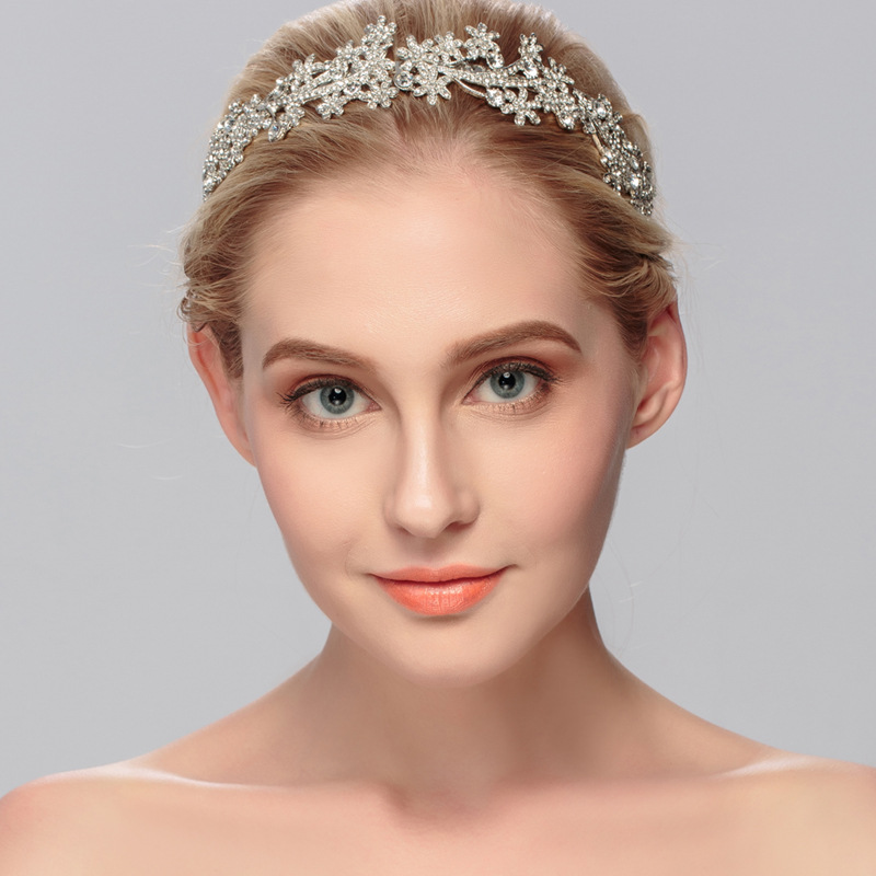 Vintage 2016 New Style Silver Planted Headband Bridal Wedding Tiara Crystal Crown Girls Women Hair Jewelry(China (Mainland))