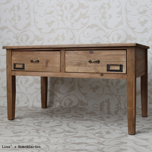 Western Country Short Vintage Brown Solid Fir Wood Coffee Table with 2 Drawers(China (Mainland))