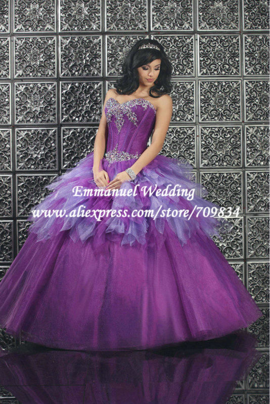 vestido de fiesta 2015 Stunning Designer Appliques Purple Ball Gown Prom Dress Long Jacket Women TB538 - Emmanuel Wedding store