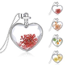 Natural Dried 5 Colors Flowers Heart Glass Current Bottle Pendant Bead Necklace(China (Mainland))