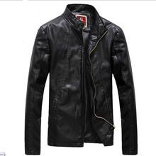 2014New Autumn men's jacket  leather clothing male stand collar slim white PU leather jacket  coat 4 colors(China (Mainland))